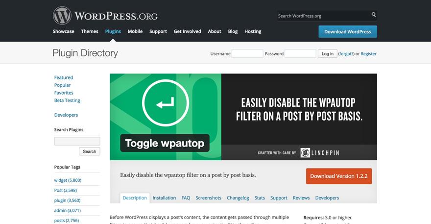 Toggle wpautop